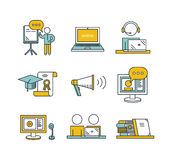 Webinar wector set. Outline education icon set. Online education concept. Man watching or holding online webinar, computer and webcam, viewers, online royalty free illustration