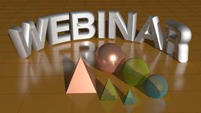 Webinar white. WEBINAR in white reflective letters with some geometrical objects on a plane vector illustration