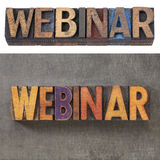 Webinar in wood type Stock Image