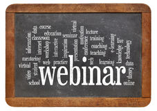 Webinar  word cloud on blackboard Stock Photo