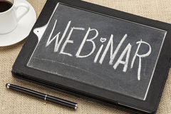 Webinar word on digital tablet Stock Photography