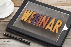 Webinar word on digital tablet Stock Photography