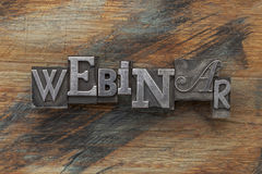 Webinar word in metal type Royalty Free Stock Images