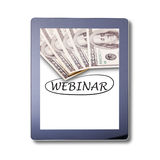 Webinar word on Tablet, isolated. Invitation to webinar is written on the tablet skreen. Webinar Online Seminar Global Communicati stock photo