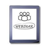 Webinar word on Tablet, isolated. Invitation to webinar is written on the tablet skreen. Webinar Online Seminar Global Communicati Stock Image
