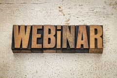 Webinar word in wood type Stock Image