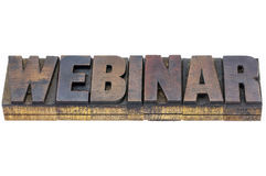 Webinar word in wood type Royalty Free Stock Images