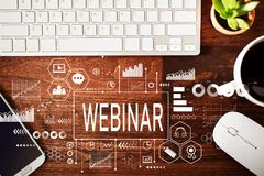 Webinar with workstation Stock Photo