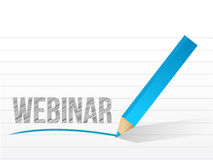 Webinar written on a notepad paper illustration Stock Photography