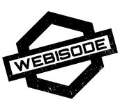 Webisode rubber stamp. Grunge design with dust scratches. Effects can be easily removed for a clean, crisp look. Color is easily changed Stock Images