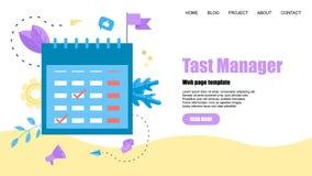Webmalplaatje Vlak ontwerptaakbeheer met gebeurtenissen, herinneringen en planning royalty-vrije illustratie