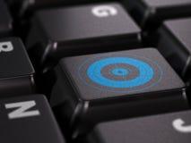 Webmarketing - marketing internet concept, seo. Blue target on a black keyboard Stock Images