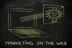 Webmarketing: pop-up ads coming out of laptop screen with a spri Stock Image