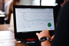 Webmasteransicht ein Berichtsdiagramm von Google Analytics lizenzfreies stockfoto