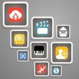 Webmedia pictogrammen Stock Foto