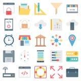 Webontwerp, Gegevens en Ontwikkeling Geïsoleerde Vectorpictogrammen stock illustratie