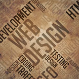 Webontwerp - Grunge Bruine Wordcloud. stock foto's