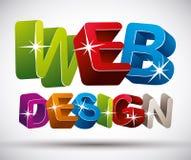 Webontwerp van letters voorzien gemaakt met kleurrijke 3d brieven op w Stock Foto's