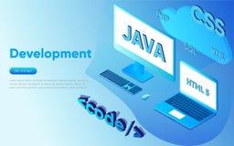 Webontwikkeling concept, programmering en het coderen Laptop met de virtuele schermen en wolkencode inzake blauwe achtergrond Royalty-vrije Stock Afbeeldingen