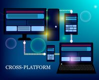 Webontwikkeling en codage De dwarswebsite van de platformontwikkeling royalty-vrije illustratie