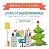 Webpage προτύπων για τα Χριστούγεννα Εσωτερικό διανυσματικό επίπεδο εργασιακών χώρων ελεύθερη απεικόνιση δικαιώματος