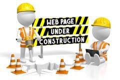 webpage 3D under konstruktionsbegrepp Arkivbild