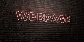 WEBPAGE -Realistic Neon Sign on Brick Wall background - 3D rendered royalty free stock image. Can be used for online banner ads and direct mailers Royalty Free Stock Photos