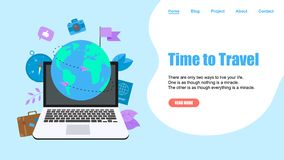 Webpage Template. Concept of Time to Travel. Planet Earth for travel flat design concept with two airplanes stock illustration