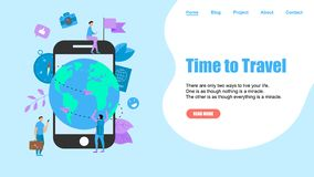 Webpage Template. Concept of Time to Travel. Planet Earth for travel flat design concept with two airplanes vector illustration