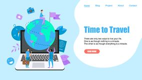 Webpage Template. Concept of Time to Travel. Planet Earth for travel flat design concept with two airplanes royalty free illustration