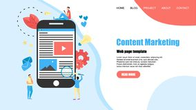 Webpage template. Content Marketing, Blogging and SMM concept. Articles and media materials.  stock illustration