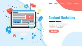 Webpage template. Content Marketing, Blogging and SMM concept. Articles and media materials.  vector illustration