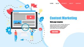Webpage template. Content Marketing, Blogging and SMM concept. Articles and media materials.  royalty free illustration