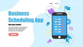 Webpaginamalplaatje Vlakke ontwerpzaken die app op laptop computer met gebeurtenissen, herinneringen en planning plannen vector illustratie
