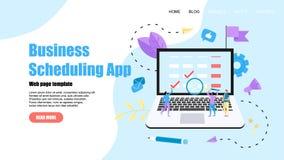 Webpaginamalplaatje Vlakke ontwerpzaken die app op laptop computer met gebeurtenissen, herinneringen en planning plannen stock illustratie
