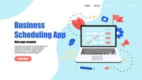 Webpaginamalplaatje Vlakke ontwerpzaken die app op laptop computer met gebeurtenissen, herinneringen en planning plannen royalty-vrije illustratie