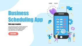 Webpaginamalplaatje Vlakke ontwerpzaken die app op laptop computer met gebeurtenissen, herinneringen en planning plant vector illustratie