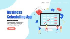 Webpaginamalplaatje Vlakke ontwerpzaken die app op laptop computer met gebeurtenissen, herinneringen en planning plant stock illustratie