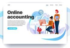 Webpaginaontwerpsjablonen voor online boekhouding vector illustratie
