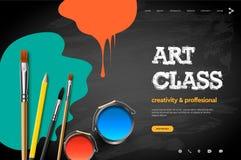 Webpaginaontwerpsjabloon voor Art Class, studio, cursus, klasse, onderwijs Het moderne concept van de ontwerp vectorillustratie v vector illustratie
