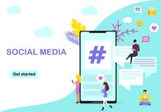 Webpaginaontwerpsjabloon voor sociale media vector illustratie
