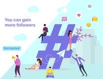 Webpaginaontwerpsjabloon voor sociale media royalty-vrije illustratie