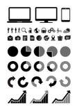 Webpictogrammen, grafiek en pictogrammenpc Royalty-vrije Stock Foto's