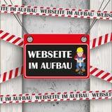 Webseite im de Concrete Houten Arbeider van Aufbau Royalty-vrije Stock Afbeeldingen