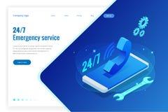 Webseitendesignschablonen für Call-Center-Unterstützung 24-7 Isometrische 24 Stunden öffnen Kundendienst Auch im corel abgehobene lizenzfreie abbildung