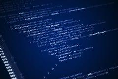 Webseitenjavascriptcode auf Computerüberwachungsgerät Stockfotos
