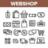 Webshop, онлайн ходя по магазинам линейный набор значков вектора иллюстрация вектора
