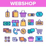 Webshop, ensemble lin?aire de achat en ligne d'ic?nes de vecteur illustration stock