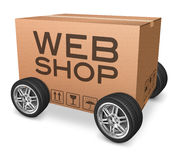 Webshop package delivery. Web shop icon webshop package delivery online shopping on internet shop cardboard box with text vector illustration