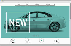 Website Advertising Car Homepage New Arrival Concept.  Stock Photography